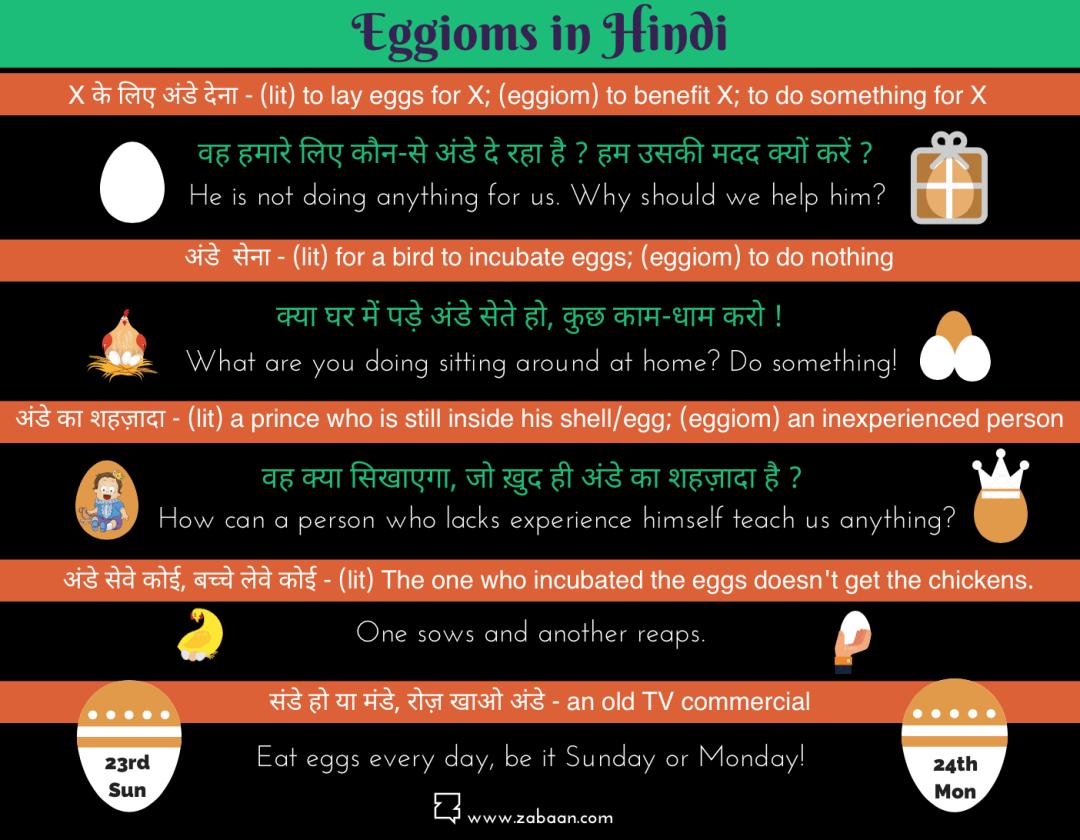 'Eggioms' in Hindi!