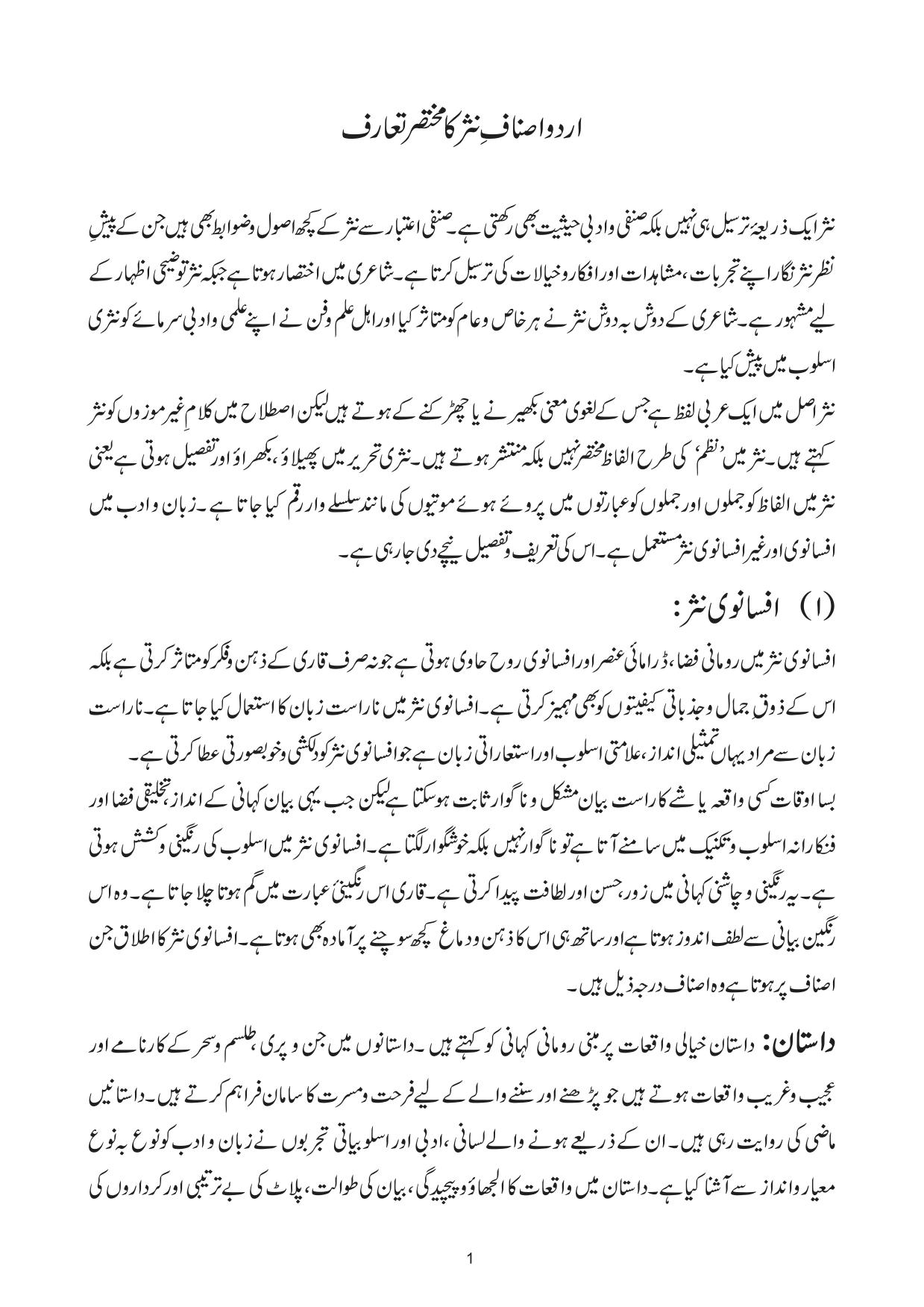 اردو اصناف نثر کا مختصر تعارف A Brief Introduction To Urdu Prose